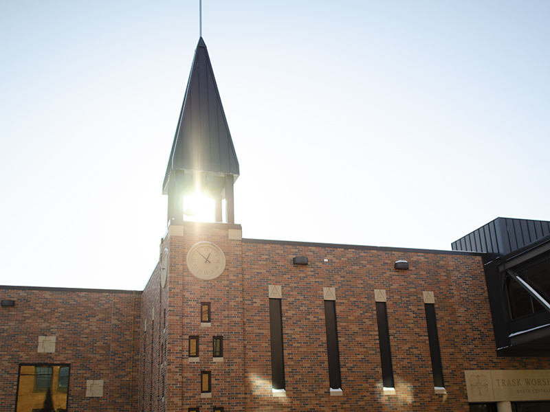 Trask Word and Worship center with sunlight
