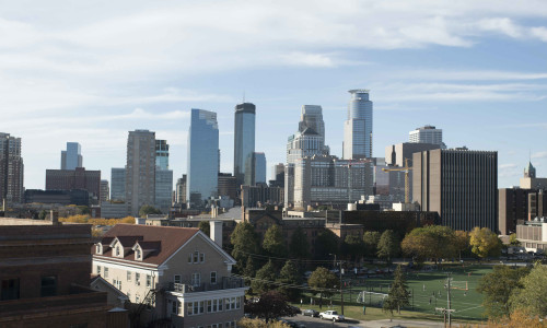 The skyline of downtown Minneapolis.